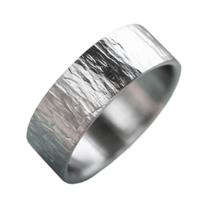 Men woodgrain textured white gold ring