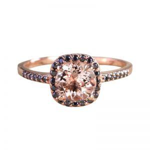 Morganite and black diamonds ring