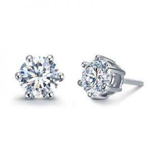 White gold stud diamond earrings