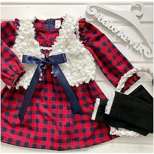 3-Piece set for girls with checkered dress