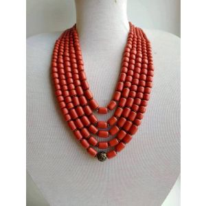 Chunky red bead necklace