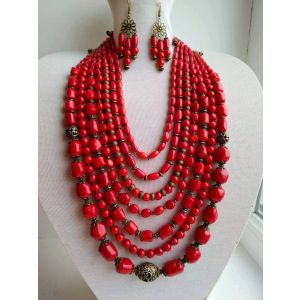 Natural coral necklace and earrings set