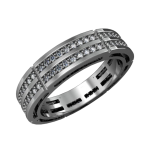 Gold wedding band for men with diamonds