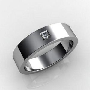 White gold wedding ring for him