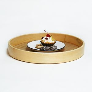 Round serving wooden tray