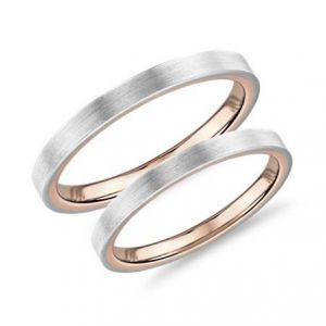 Two-tone wedding band set