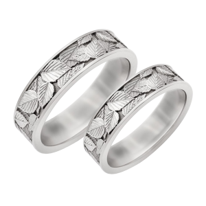 Leaf scratched wedding bands