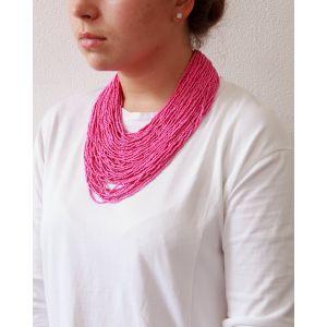 "Pink beaded necklace ""Dark ceramics"""