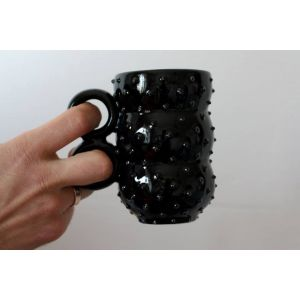 Black spiky ceramic mug