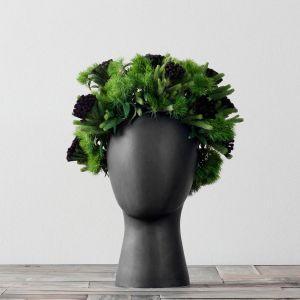 Black wig head vase