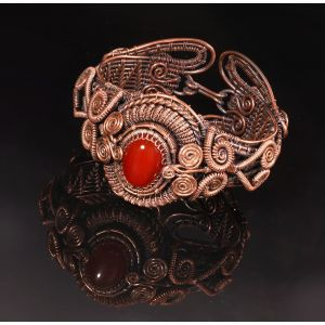 Carnelian copper wire wrap bracelet