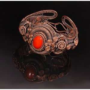 Copper wire wrapped carnelian bracelet
