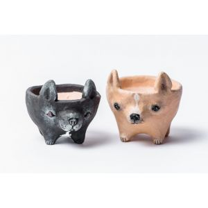 Chihuahua and French Bulldog pots set