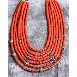 7 rows natural clay beaded necklace
