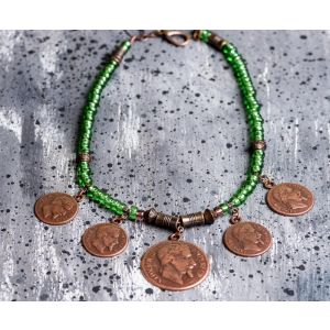 Metal coin beaded necklace