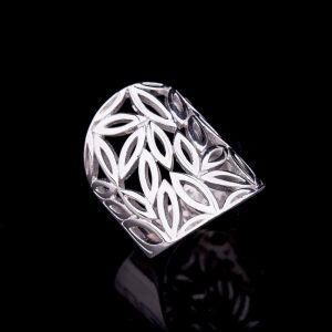 Filigree silver ring in boho style