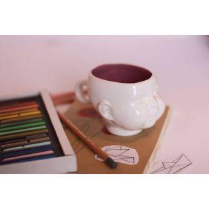 Handmade ceramic baby face mug