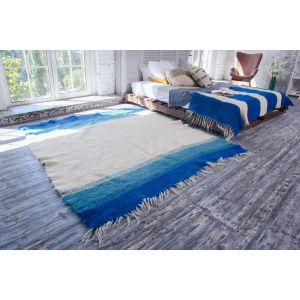 White blue wool rug