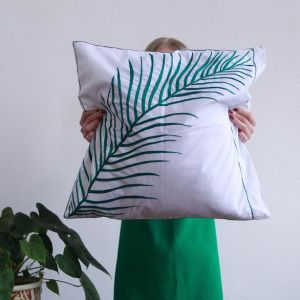 "Throw pillow cases ""Green leaf''"