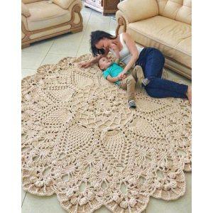 Ivory crochet round rug