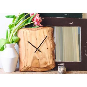 Rustic Square Wooden Wall Clock