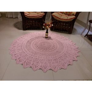 Pink crochet doily rug