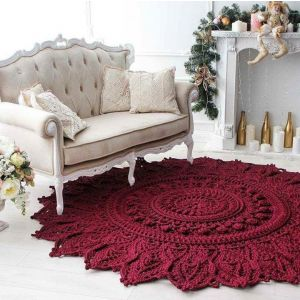 Red flower crochet round rug