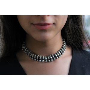 Silver choker Indian necklace