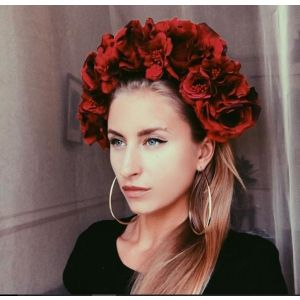"Flower headband ""Element of red"""