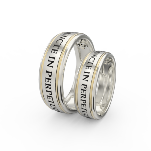 Gold engraved ring band set