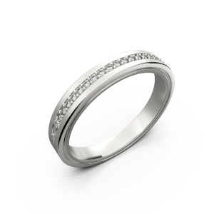 White gold diamond wedding band for her 0,076 carat