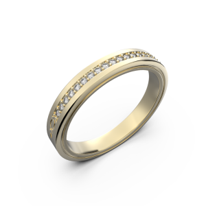 Yellow gold diamond wedding band for her 0,076 carat
