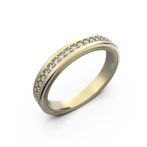 Womens diamond wedding band in yellow gold 0,164 carat
