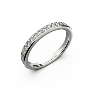 White gold diamond wedding band for her 0,161 carat