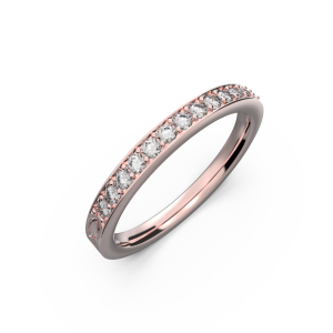 Rose gold diamond wedding band for her 0,161 carat