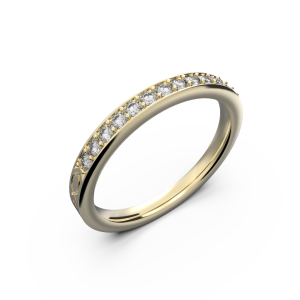 Yellow gold diamond wedding band for her 0,161 carat