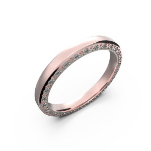Rose gold diamond wedding band for her 0,224 carat