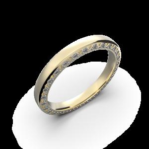 Yellow gold diamond wedding band for her 0,224 carat
