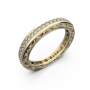 Yellow gold and diamonds wedding band for women