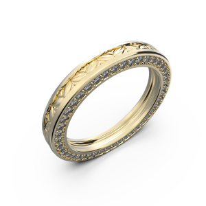 Yellow gold wide wedding band for him and her