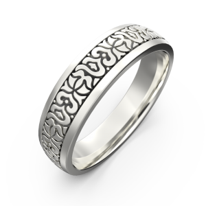 Men's gold carved ring