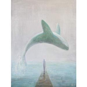 "Animal painting on canvas ""Whale"""