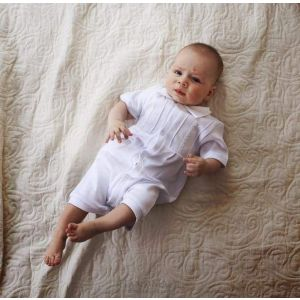 Baby boy clothes. Boy baptism romper