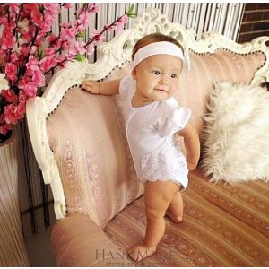 "Baby girl christening romper ""Little bead"""