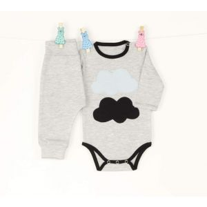 Baby set with body and pants Clouds