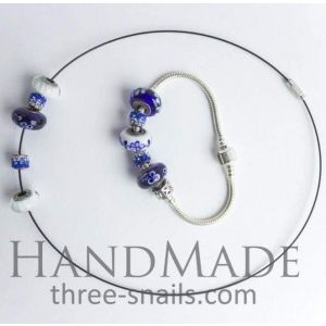 "Bead bracelets and necklaces set ""Heavenly expanse"""