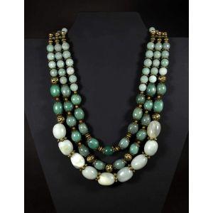 "Bead necklaces ""Green stone dream"""
