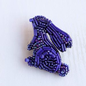 "Beaded brooch ""Blue Easter Bunny"""