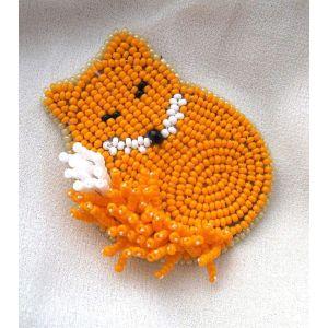 """Beaded brooch """"Sleepy fox"""""""