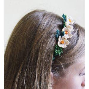 """Beaded hair band """"White flower"""""""